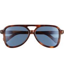 moncler 58mm aviator sunglasses - dark havana/ blue mirror