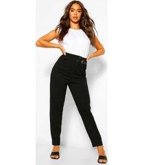 getailleerde baggy broek met gesp, zwart