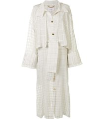 akira naka sheer check trench coat - white
