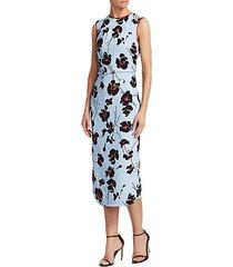 floral print sleeveless midi sheath dress