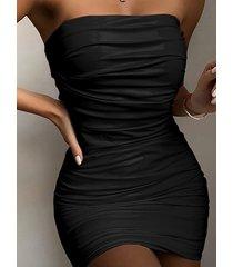 mini vestido sin mangas sin tirantes plisado sexy