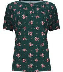 camiseta estampada flores color verde, talla xs