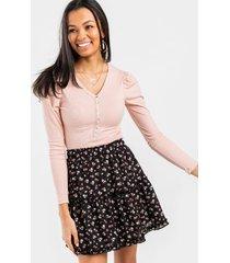 angeline button front bodysuit - pink