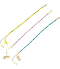 betsey johnson nostalgic corded charm bracelet, set of 3