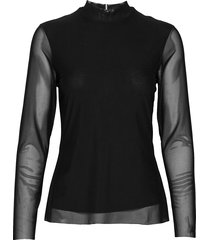tjw solid mesh top t-shirts & tops long-sleeved zwart tommy jeans