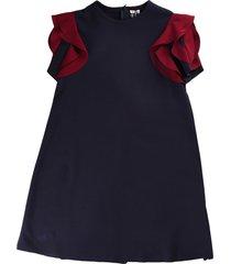 il gufo blue short sleeve dress