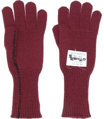 raf simons wool knit gloves - red