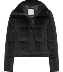 anf womens outerwear outerwear faux fur svart abercrombie & fitch