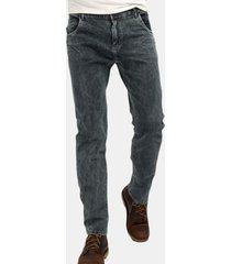 casual bottone elastico in ottone sottile lavato per uomo jeans