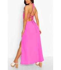 geweven maxi-jurk met halternek en bandjes op de rug, warm roze