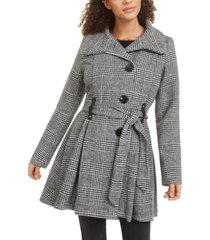 madden girl juniors' belted drama skirted coat, created for macy's