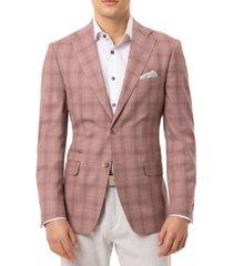 tallia orange men's slim-fit stretch pink plaid sport coat