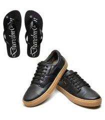 kit sapatênis masculino de couro e chinelo masculino conforto preto