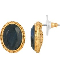 2028 women's 14k gold dipped blue oval stud earrings
