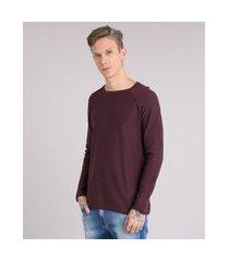 suéter masculino em tricô manga longa gola redonda vinho