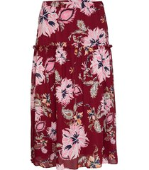 d1. marine paisley chiffon skirt knälång kjol röd gant