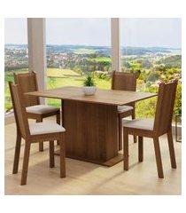 conjunto sala de jantar madesa luana mesa tampo de madeira com 4 cadeiras marrom