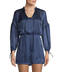 striped self-tie romper