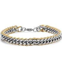 18k goldplated stainless steel cuban chain-link bracelet