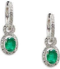 effy women's 14k white gold, emerald & diamond dangle earrings