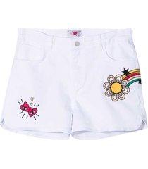 sonia rykiel enfant white denim shorts