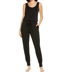women's nordstrom moonlight dream henley jumpsuit, size x-large - black