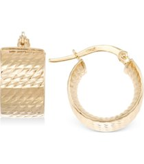 italian gold textured chunky hoop earrings in 14k gold