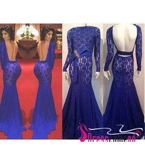 sexy high neck long sleeves backless lace royal blue evening dress/prom dresses
