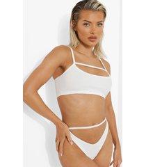 geribbelde bikini top met uitsnijding, lage ronde hals en textuur, white