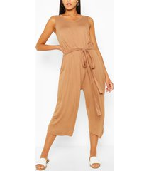 sleeveless jersey belted culotte jumpsuit, camel