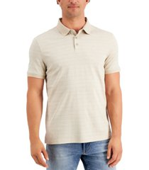 calvin klein men's liquid touch regular-fit tile-print polo shirt