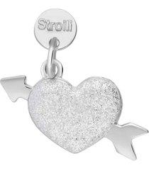 ciondolo cuore con freccia in argento rodiato e smalto glitter per donna