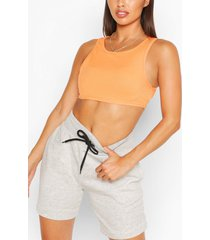 petite rib crop top, orange