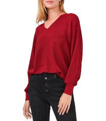 1.state drop shoulder balloon sleeve sweater, size small in vibrant red at nordstrom