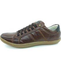 calçado sapatênis casual em couro kéffor cor castanho linha fênix - kanui