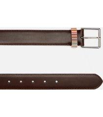 ps paul smith men's stripe keeper belt - chocolate - w38