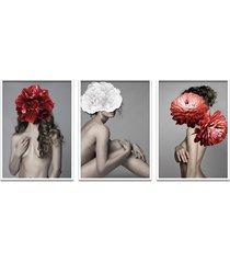 quadro 60x120cm astra mulher com flores vermelha e branca moldura branca com vidro - tricae