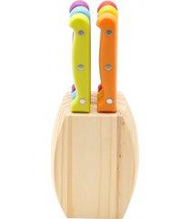 cj 6 facas p/churrasco c/cepo de madeira tofield