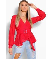 dobby chiffon wikkel blouse met ceintuur, red