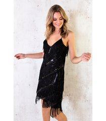 fringe pailletten jurk zwart