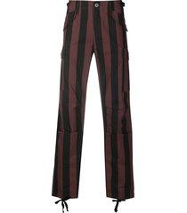 032c high-rise vertical stripe trousers - black