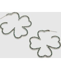 lane bryant women's pave four-leaf clover hoop earrings onesz pantone jade cream