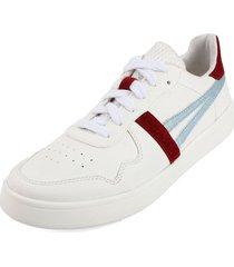 tenis blanco por azul blanco perla 3001