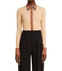women's chloe rib knit embellished cardigan, size medium - orange