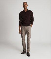 reiss trafford - merino wool polo shirt in bordeaux, mens, size xxl