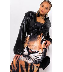 akira plus highest in the room tie front faux leather crop top