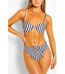 gestreepte bikini met beugel hoge taille en strikceintuur, zwart
