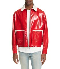 men's valentino coated jacket, size 52 eu - red