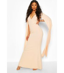 cape sleeve fishtail maxi dress, blush