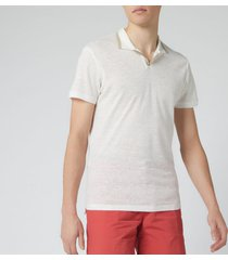 orlebar brown men's felix linen pique polo shirt - canvas/stone - xl